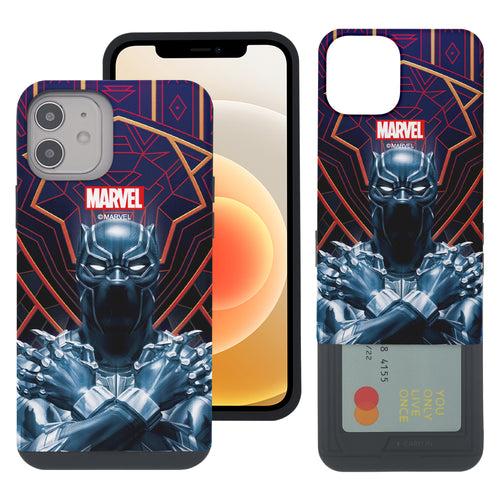iPhone 12 Pro / iPhone 12 Case (6.1inch) Marvel Avengers Slim Slider Card Slot Dual Layer Holder Bumper Cover - Black Panther Face Lines