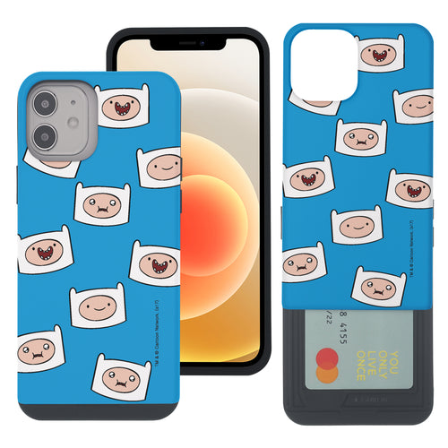 iPhone 12 mini Case (5.4inch) Adventure Time Slim Slider Card Slot Dual Layer Holder Bumper Cover - Pattern Finn