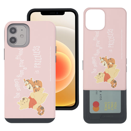 iPhone 12 mini Case (5.4inch) Disney Pooh Slim Slider Card Slot Dual Layer Holder Bumper Cover - Words Pooh Tigger