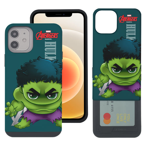 iPhone 12 Pro / iPhone 12 Case (6.1inch) Marvel Avengers Slim Slider Card Slot Dual Layer Holder Bumper Cover - Mini Hulk