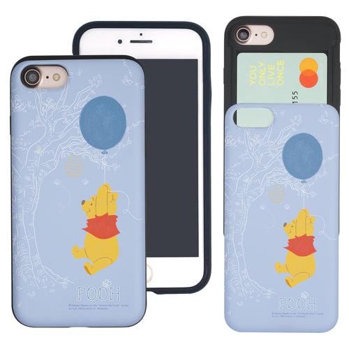 iPhone SE 2020 / iPhone 8 / iPhone 7 Case (4.7inch) Disney Pooh Slim Slider Card Slot Dual Layer Holder Bumper Cover - Balloon Pooh Sky