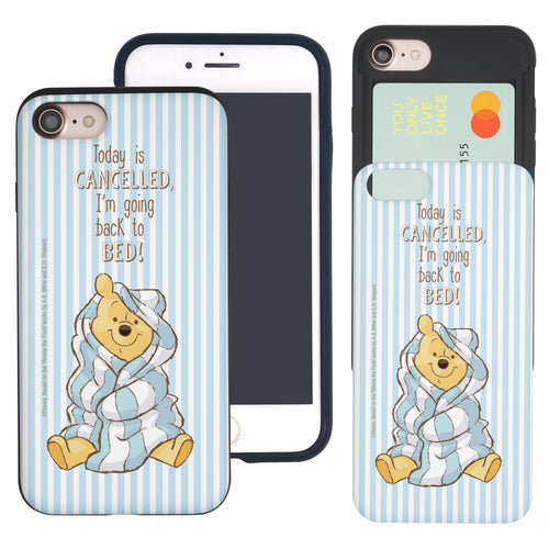iPhone 6S Plus / iPhone 6 Plus Case Disney Pooh Slim Slider Card Slot Dual Layer Holder Bumper Cover - Words Pooh Stripe