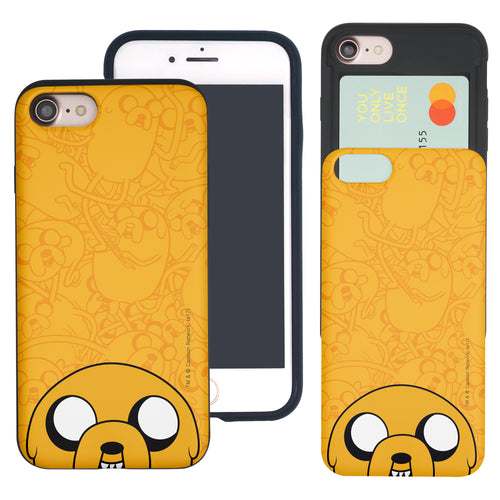 iPhone 8 Plus / iPhone 7 Plus Case Adventure Time Slim Slider Card Slot Dual Layer Holder Bumper Cover - Pattern Jake Big