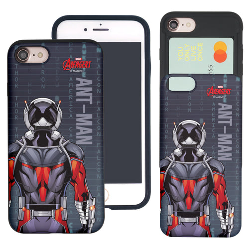 iPhone 8 Plus / iPhone 7 Plus Case Marvel Avengers Slim Slider Card Slot Dual Layer Holder Bumper Cover - Back Ant Man