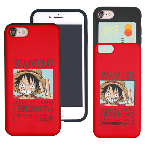 iPhone 6S Plus / iPhone 6 Plus Case ONE PIECE Slim Slider Card Slot Dual Layer Holder Bumper Cover - Look Luffy