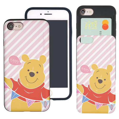 iPhone SE 2020 / iPhone 8 / iPhone 7 Case (4.7inch) Disney Pooh Slim Slider Card Slot Dual Layer Holder Bumper Cover - Stripe Pooh Happy