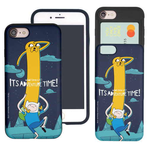 iPhone 8 Plus / iPhone 7 Plus Case Adventure Time Slim Slider Card Slot Dual Layer Holder Bumper Cover - Cuty Jake Long