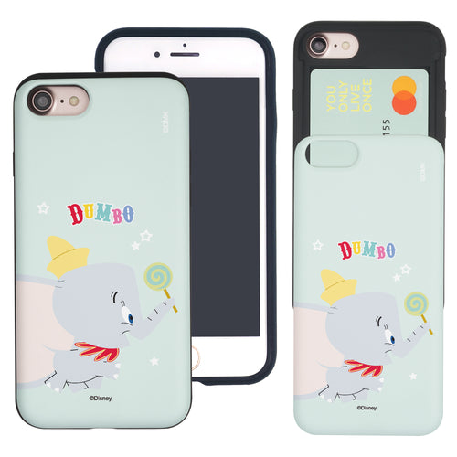 iPhone SE 2020 / iPhone 8 / iPhone 7 Case (4.7inch) Disney Dumbo Slim Slider Card Slot Dual Layer Holder Bumper Cover - Dumbo Candy