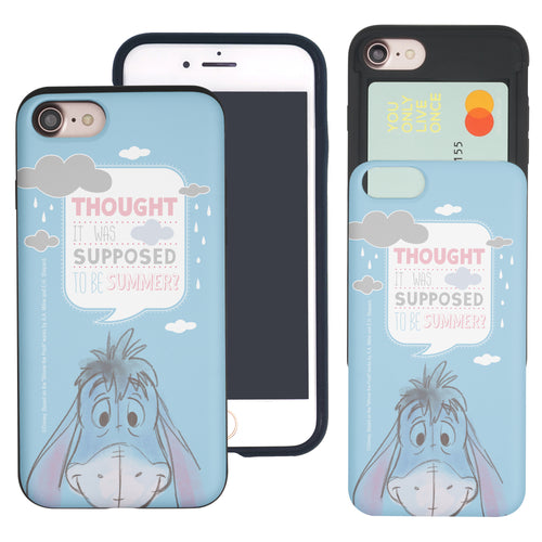 iPhone SE 2020 / iPhone 8 / iPhone 7 Case (4.7inch) Disney Pooh Slim Slider Card Slot Dual Layer Holder Bumper Cover - Words Eeyore Face
