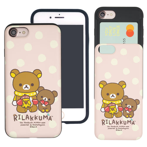 iPhone SE 2020 / iPhone 8 / iPhone 7 Case (4.7inch) Rilakkuma Slim Slider Card Slot Dual Layer Holder Bumper Cover - Chairoikoguma Sit