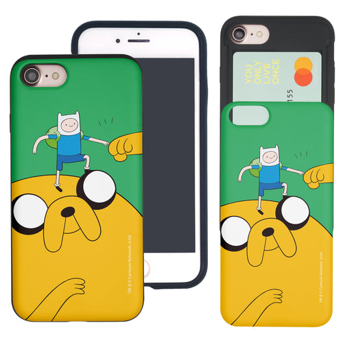 iPhone 8 Plus / iPhone 7 Plus Case Adventure Time Slim Slider Card Slot Dual Layer Holder Bumper Cover - Cuty Jake Big