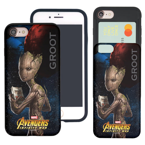 iPhone 8 Plus / iPhone 7 Plus Case Marvel Avengers Slim Slider Card Slot Dual Layer Holder Bumper Cover - Infinity War Groot