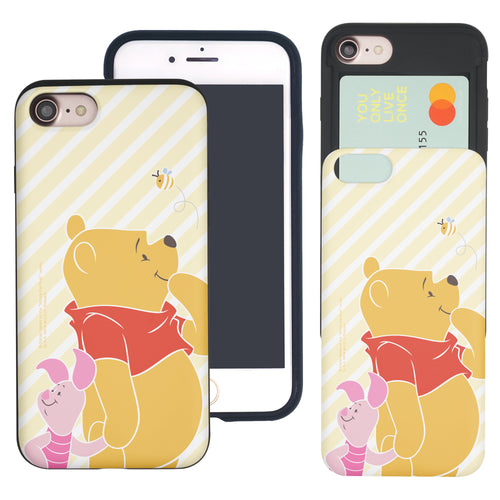 iPhone SE 2020 / iPhone 8 / iPhone 7 Case (4.7inch) Disney Pooh Slim Slider Card Slot Dual Layer Holder Bumper Cover - Stripe Pooh Bee