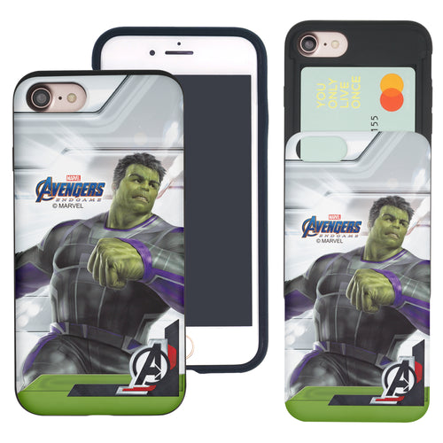 iPhone 8 Plus / iPhone 7 Plus Case Marvel Avengers Slim Slider Card Slot Dual Layer Holder Bumper Cover - End Game Hulk