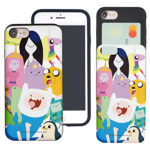 iPhone 8 Plus / iPhone 7 Plus Case Adventure Time Slim Slider Card Slot Dual Layer Holder Bumper Cover - Cuty Adventure Time