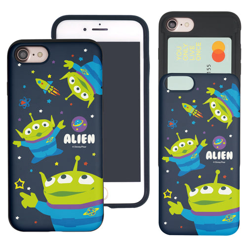 iPhone 8 Plus / iPhone 7 Plus Case Toy Story Slim Slider Card Slot Dual Layer Holder Bumper Cover - Pattern Alien Space
