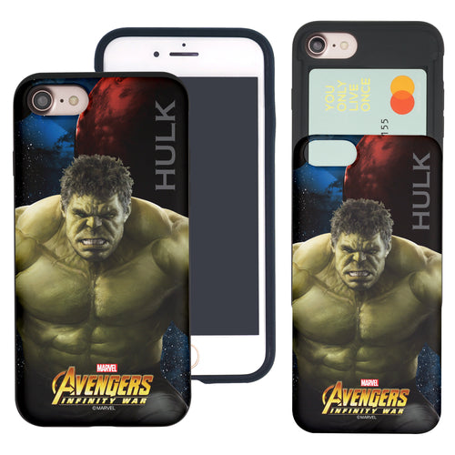 iPhone 8 Plus / iPhone 7 Plus Case Marvel Avengers Slim Slider Card Slot Dual Layer Holder Bumper Cover - Infinity War Hulk