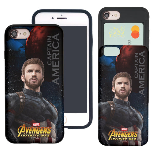iPhone 8 Plus / iPhone 7 Plus Case Marvel Avengers Slim Slider Card Slot Dual Layer Holder Bumper Cover - Infinity War Captain America