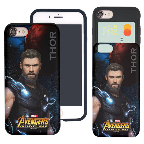 iPhone 8 Plus / iPhone 7 Plus Case Marvel Avengers Slim Slider Card Slot Dual Layer Holder Bumper Cover - Infinity War Thor
