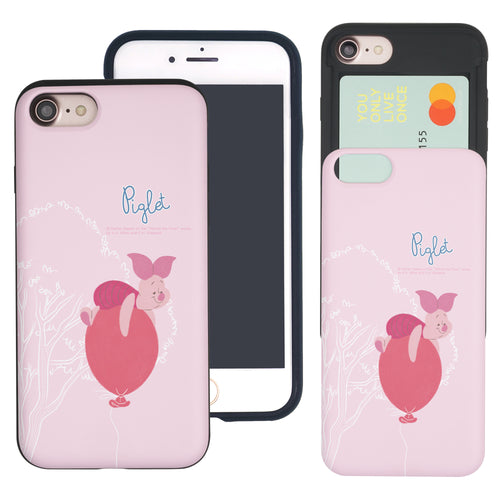 iPhone SE 2020 / iPhone 8 / iPhone 7 Case (4.7inch) Disney Pooh Slim Slider Card Slot Dual Layer Holder Bumper Cover - Balloon Piglet