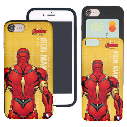 iPhone 8 Plus / iPhone 7 Plus Case Marvel Avengers Slim Slider Card Slot Dual Layer Holder Bumper Cover - Back Iron Man