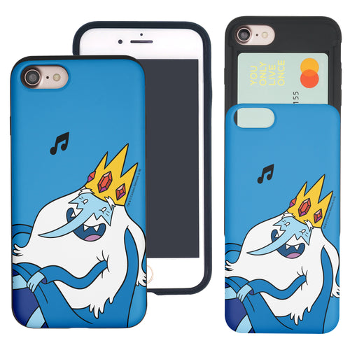 iPhone 8 Plus / iPhone 7 Plus Case Adventure Time Slim Slider Card Slot Dual Layer Holder Bumper Cover - Vivid Ice King