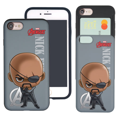 iPhone 8 Plus / iPhone 7 Plus Case Marvel Avengers Slim Slider Card Slot Dual Layer Holder Bumper Cover - Mini Nick Fury