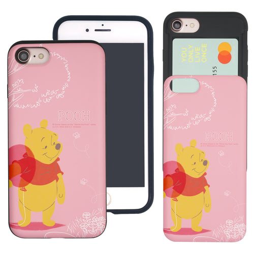 iPhone SE 2020 / iPhone 8 / iPhone 7 Case (4.7inch) Disney Pooh Slim Slider Card Slot Dual Layer Holder Bumper Cover - Balloon Pooh Ground