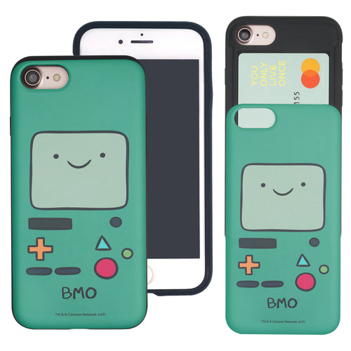 iPhone 8 Plus / iPhone 7 Plus Case Adventure Time Slim Slider Card Slot Dual Layer Holder Bumper Cover - Beemo (BMO)