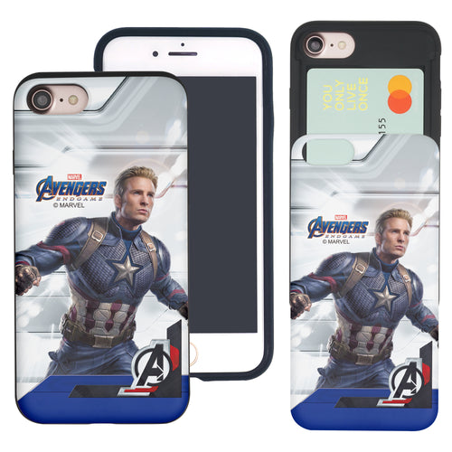 iPhone 8 Plus / iPhone 7 Plus Case Marvel Avengers Slim Slider Card Slot Dual Layer Holder Bumper Cover - End Game Captain America