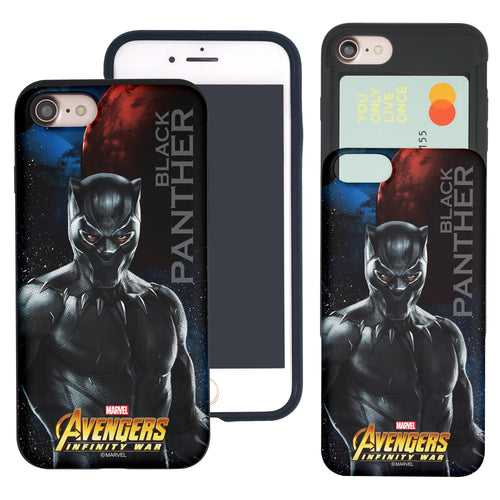 iPhone 8 Plus / iPhone 7 Plus Case Marvel Avengers Slim Slider Card Slot Dual Layer Holder Bumper Cover - Infinity War Black Panther