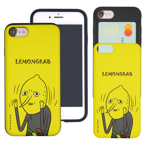 iPhone 8 Plus / iPhone 7 Plus Case Adventure Time Slim Slider Card Slot Dual Layer Holder Bumper Cover - Lovely Lemongrab