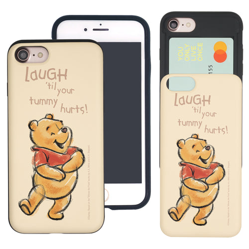 iPhone SE 2020 / iPhone 8 / iPhone 7 Case (4.7inch) Disney Pooh Slim Slider Card Slot Dual Layer Holder Bumper Cover - Words Pooh Laugh
