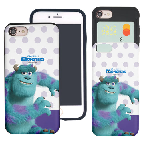 iPhone 8 Plus / iPhone 7 Plus Case Monsters University inc Slim Slider Card Slot Dual Layer Holder Bumper Cover - Movie Sulley