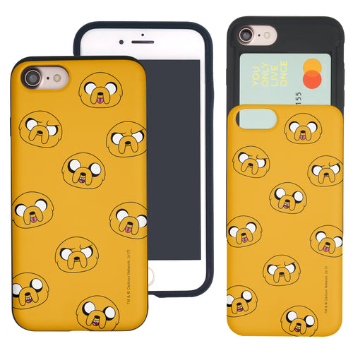 iPhone 8 Plus / iPhone 7 Plus Case Adventure Time Slim Slider Card Slot Dual Layer Holder Bumper Cover - Pattern Jake