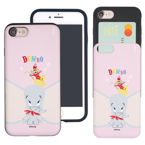iPhone SE 2020 / iPhone 8 / iPhone 7 Case (4.7inch) Disney Dumbo Slim Slider Card Slot Dual Layer Holder Bumper Cover - Dumbo Overhead