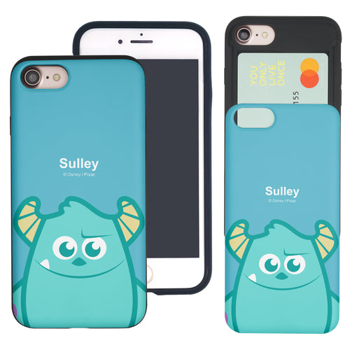 iPhone 8 Plus / iPhone 7 Plus Case Monsters University inc Slim Slider Card Slot Dual Layer Holder Bumper Cover - Big Sulley