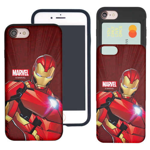 iPhone 8 Plus / iPhone 7 Plus Case Marvel Avengers Slim Slider Card Slot Dual Layer Holder Bumper Cover - Illustration Iron Man