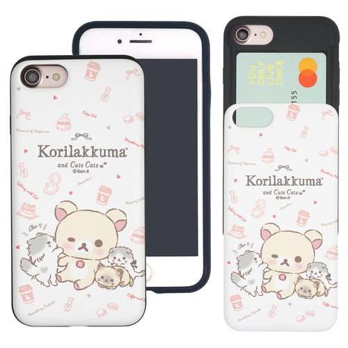 iPhone SE 2020 / iPhone 8 / iPhone 7 Case (4.7inch) Rilakkuma Slim Slider Card Slot Dual Layer Holder Bumper Cover - Korilakkuma Cat