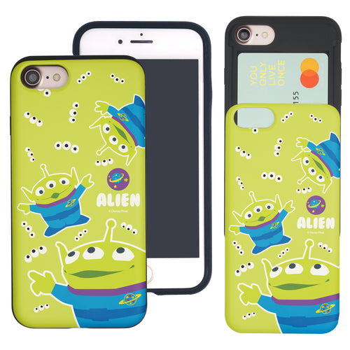 iPhone 8 Plus / iPhone 7 Plus Case Toy Story Slim Slider Card Slot Dual Layer Holder Bumper Cover - Pattern Alien Eyes