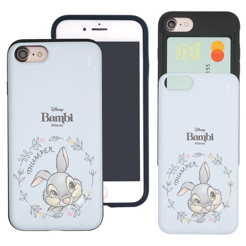 iPhone SE 2020 / iPhone 8 / iPhone 7 Case (4.7inch) Disney Bambi Slim Slider Card Slot Dual Layer Holder Bumper Cover - Face Thumper