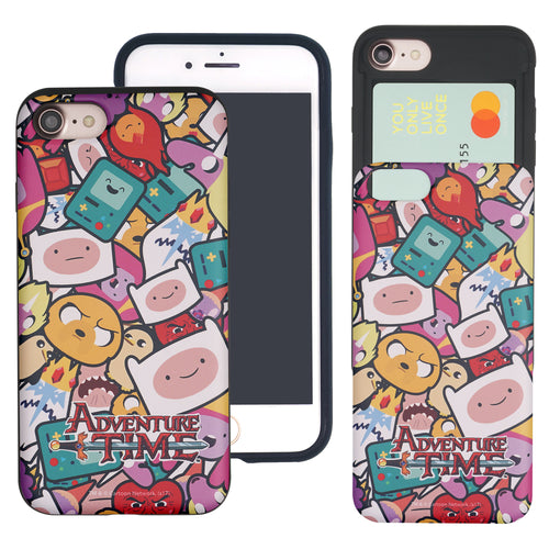 iPhone 8 Plus / iPhone 7 Plus Case Adventure Time Slim Slider Card Slot Dual Layer Holder Bumper Cover - Adventure Time