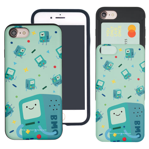 iPhone 8 Plus / iPhone 7 Plus Case Adventure Time Slim Slider Card Slot Dual Layer Holder Bumper Cover - Cuty Pattern BMO