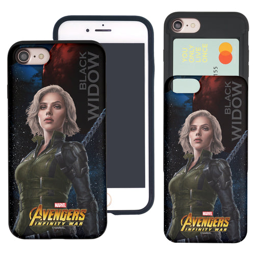 iPhone 8 Plus / iPhone 7 Plus Case Marvel Avengers Slim Slider Card Slot Dual Layer Holder Bumper Cover - Infinity War Black Widow