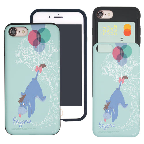 iPhone SE 2020 / iPhone 8 / iPhone 7 Case (4.7inch) Disney Pooh Slim Slider Card Slot Dual Layer Holder Bumper Cover - Balloon Eeyore