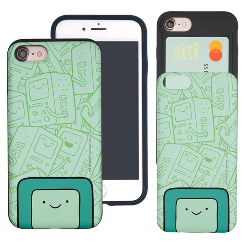 iPhone 8 Plus / iPhone 7 Plus Case Adventure Time Slim Slider Card Slot Dual Layer Holder Bumper Cover - Pattern BMO Big