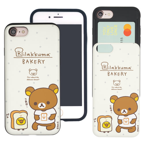 iPhone SE 2020 / iPhone 8 / iPhone 7 Case (4.7inch) Rilakkuma Slim Slider Card Slot Dual Layer Holder Bumper Cover - Rilakkuma Bread