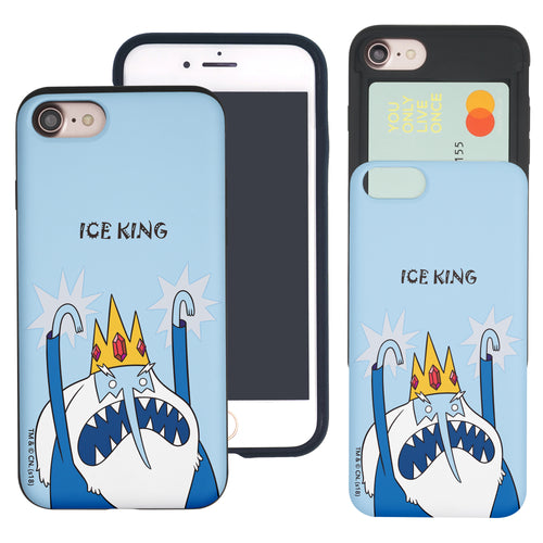 iPhone 8 Plus / iPhone 7 Plus Case Adventure Time Slim Slider Card Slot Dual Layer Holder Bumper Cover - Lovely Ice King