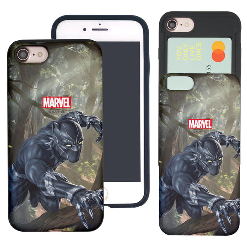 iPhone 8 Plus / iPhone 7 Plus Case Marvel Avengers Slim Slider Card Slot Dual Layer Holder Bumper Cover - Black Panther Jungle