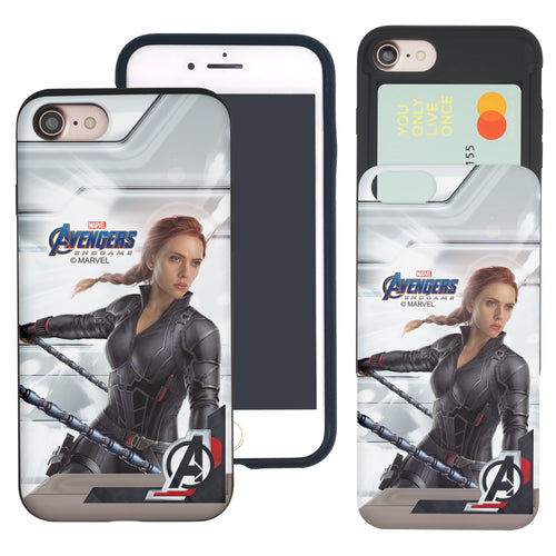 iPhone 8 Plus / iPhone 7 Plus Case Marvel Avengers Slim Slider Card Slot Dual Layer Holder Bumper Cover - End Game Black Widow